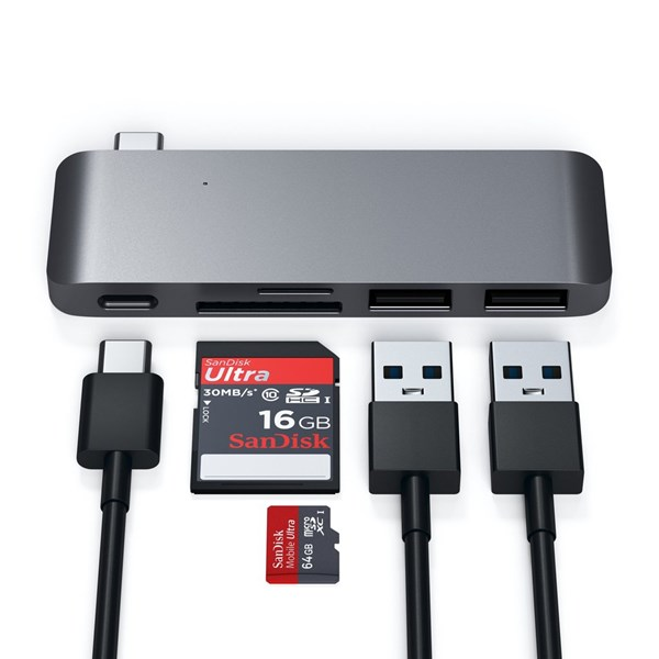 Adaptador HUB USB-C PassThrough Space Gray - Satechi
