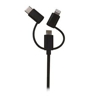 Cabo 3x1 Lightning com MFI, USB-C e micro USB - Mobimax