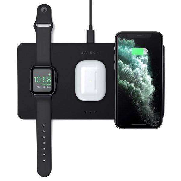 Carregador Sem fios Satechi Trio - Airpods, Apple Watch e Iphone