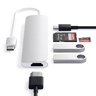 Hub Adaptador USB-C Multimidia Slim V2 Prata - Satechi
