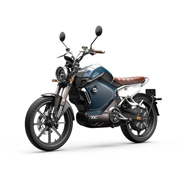 """Motocicleta Elétrica Modelo TC com Motor de 1500W até 3000W Rodas 17"""" Azul - Super Soco"""
